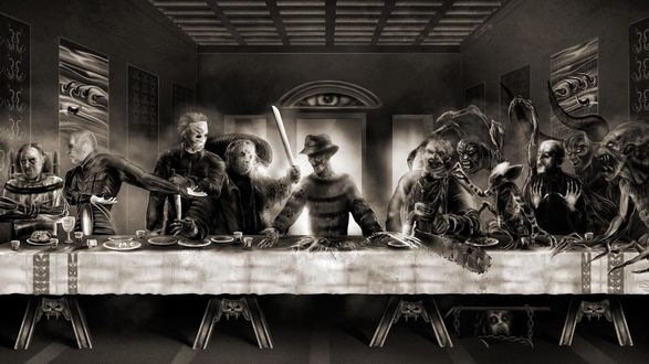 Обои Реплика картины Леонардо Да Винчи Тайная вечеря в стиле хоррор