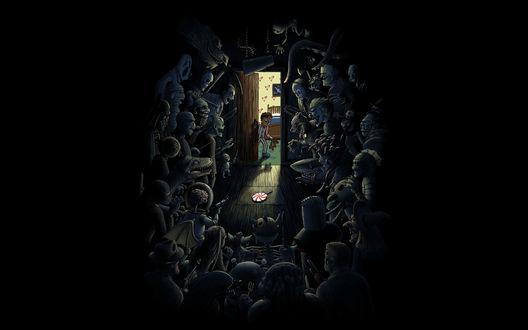 Обои Мальчик с медвежонком выглядывает из комнаты и его там ждут множество монстров