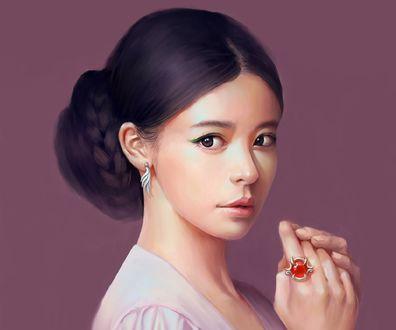 Обои Темноволосая девушка, Art by DF G