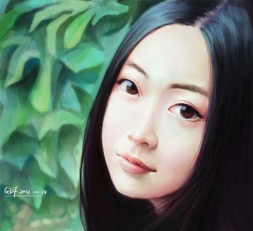 Обои Темноволосая девушка азиатской внешности, Art by DF G