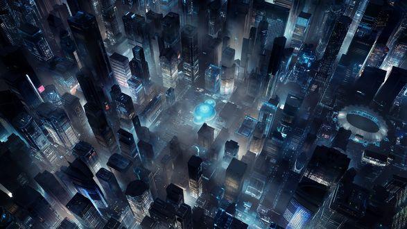 Обои Вид с высоты на ночной мегаполис, by by sanfranguy