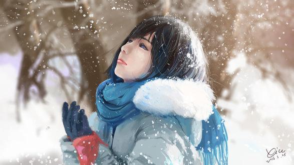 Обои Девушка смотрит на падающий снег, by xichechen
