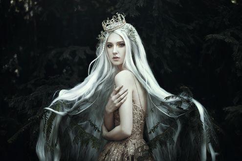 Обои Загадочная девушка с длинными белыми волосами и в короне, by. bella