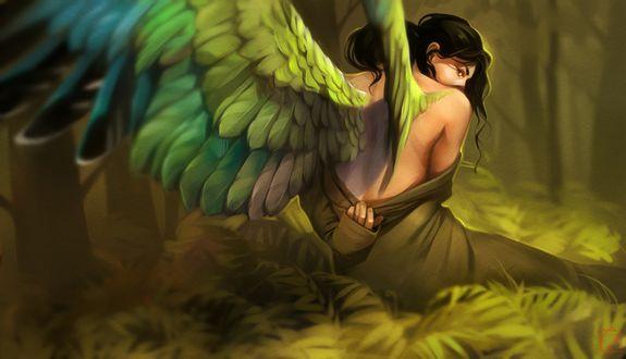 Обои Ангел с зелеными крыльями сидит на траве в лесу, by GaudiBuendia