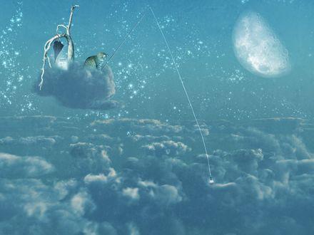 Обои Кот сидит на облаке и ловит рыбу, by DarkWizard