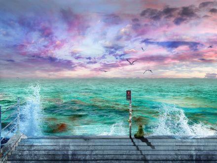 Обои Кот сидит на набережной и смотрит на море, by DarkWizard