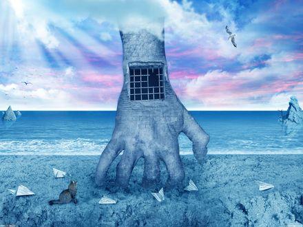 Обои Кот сидит и смотрит на руку-тюрьму, уходящую пальцами в землю, by DarkWizard
