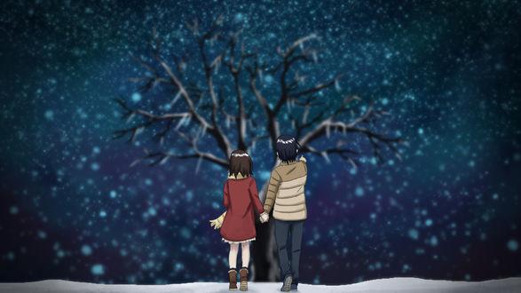 Обои Парень и девушка держат друг друга за руки, стоя к нам спиной перед деревом