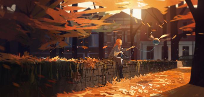 Обои Девушка с шариком на веревочке сидит в окружении осенней листвы, by Grivetart