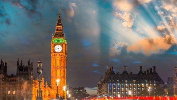 Обои Восход солнца над Лондоном, Великобритания