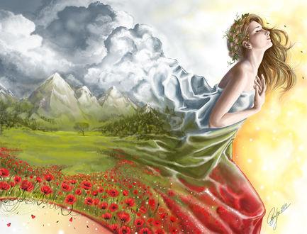 Обои Девушка, устремленная вперед, в платье с видом пейзажа лета, by candybg