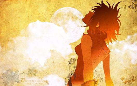 Обои Харуко Харухара / Haruhara Haruko из аниме Фури-Кури / Furi Kuri / Fooly Cooly / FLCL смотрит в небо (Dreaming through the noise / Мечты сквозь шум)