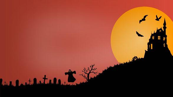 Обои Зловещий замок возле кладбища на фоне огромной луны с летучими мышами и привидениями