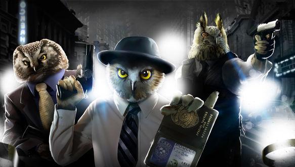 Обои Три совы полицейских в костюмах, by Deltamike