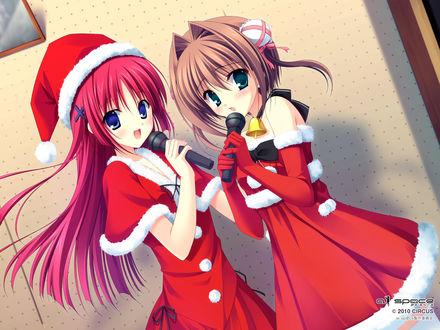 Обои Котори Ширакава / Сиракава / Shirakawa Kotori и Юме Асакура / Юмэ / Asakura Yume в новогодних костюмах поют с микрофонами в руках, персонажи визуальной новеллы D. C. Dream Xmas / Da Capo Dream Christmas