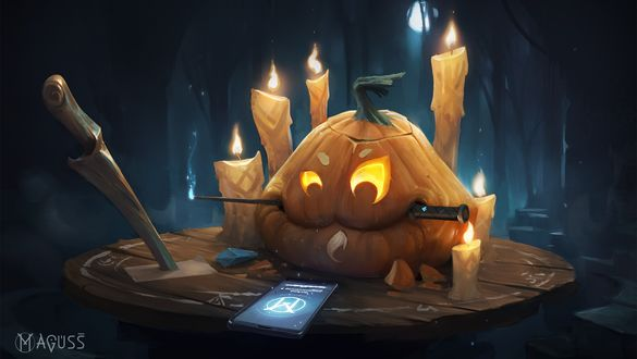 Обои Тыква с ножом во рту занимается черной магией при свечах, Хэллоуин / Halloween