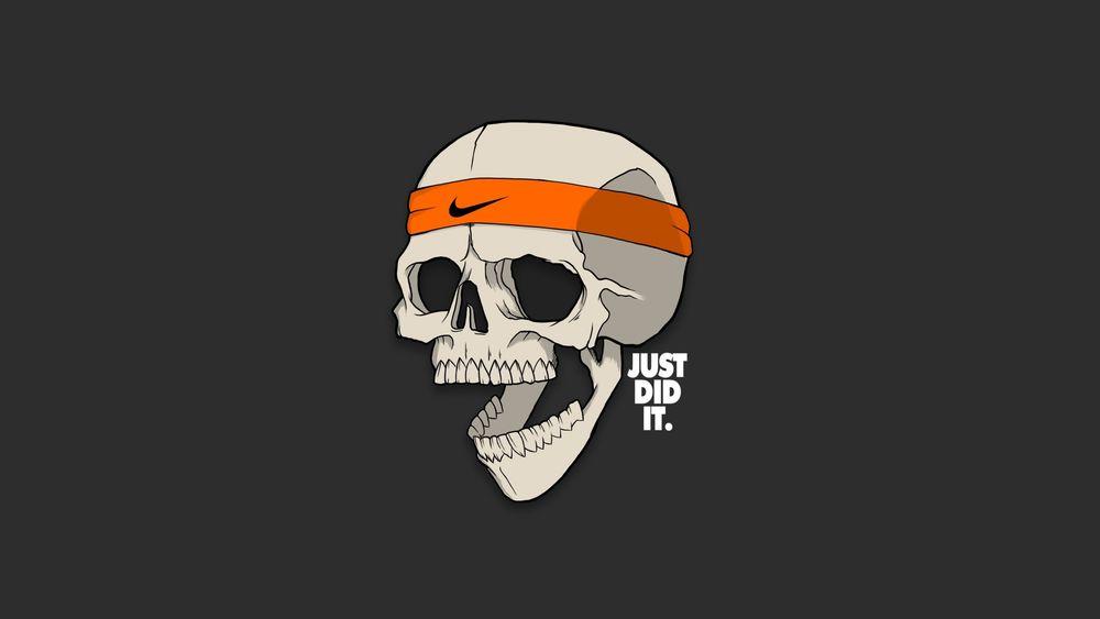 Обои для рабочего стола Человеческий череп с повязкой Nike (just did it / просто сделай это)
