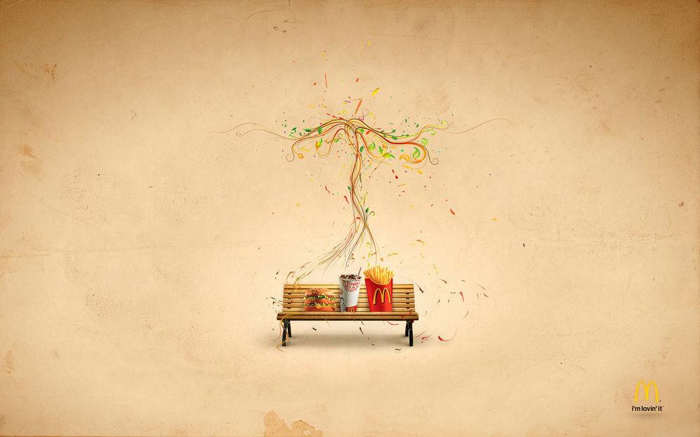 Обои для рабочего стола Лавочка на фоне нарисованного дерева и с едой из Макдональдса / McDonalds