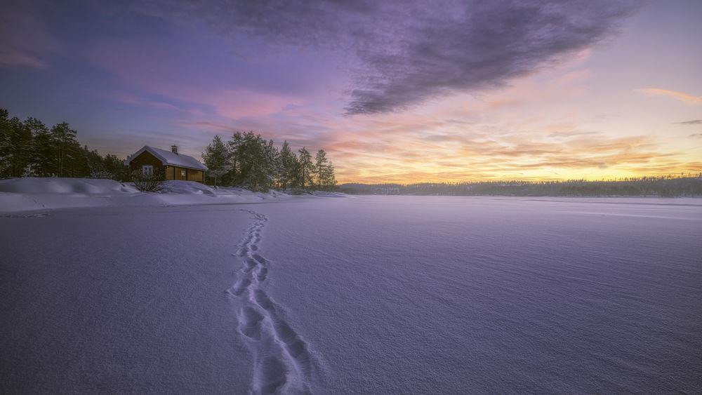 Обои для рабочего стола Тропа на снегу, ведущая к деревянному дому, фотограф Ole Henrik Skjelstad