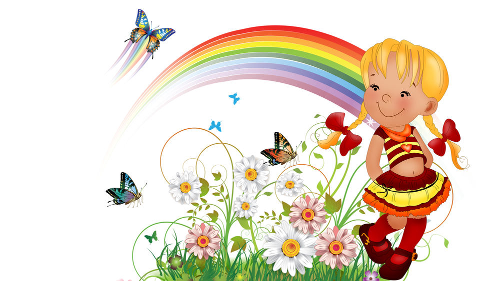 Обои для рабочего стола Девочка с красными бантиками на фоне радуги и цветов