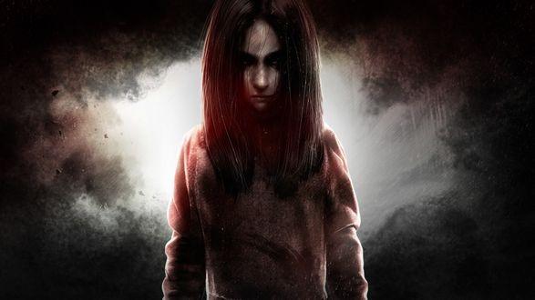 Обои Девочка демон стоит смотря уверенным взглядом из игры F. E. A. R