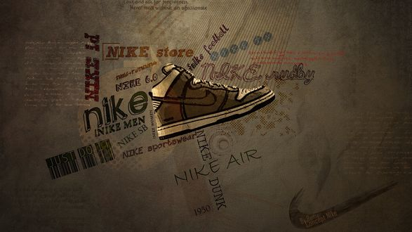 Обои Фирменный кроссовок Nike / Найк среди надписей (Nike, Nike air, football, store, Just do it)