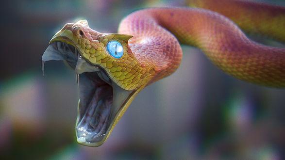 Обои Розовая змея с голубыми глазами и раскрытым ртом, на размытом фоне, by Zinan Liu