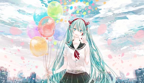 Обои Vocaloid Hatsune Miku / Вокалоид Хатсунэ Мику с любовным письмом и воздушными шариками стоит на фоне облачного неба и города, by ruru (tsuitta)