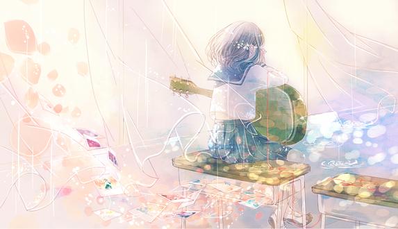Обои Плачущая девушка с гитарой и красной нитью судьбы на пальце сидит на парте в комнате, by ruru (tsuitta)