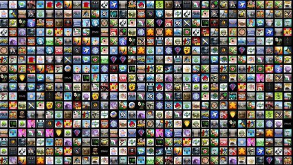 Обои Множество логотипов приложений и игр