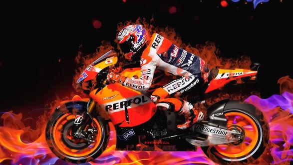 Обои Гонщик на мотоцикле в окружении огня