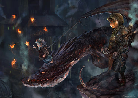 Обои Маленький мальчик, стоя на голове дракона, протягивает руку к светящимся бабочкам, второй мальчик наблюдает за этим, стоя на крыше дома, by Randy Vargas (vargasni)
