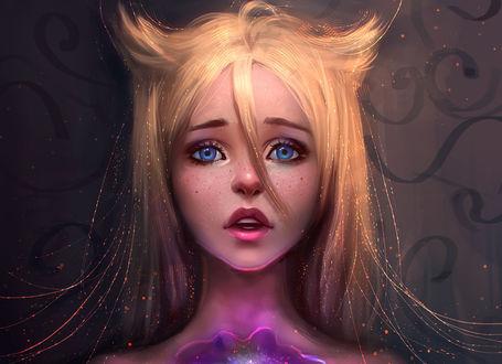 Обои Фантастическая девушка с огненными волосами, голубыми глазами и фиолетовым космическим сиянием на груди, art by AyyaSap