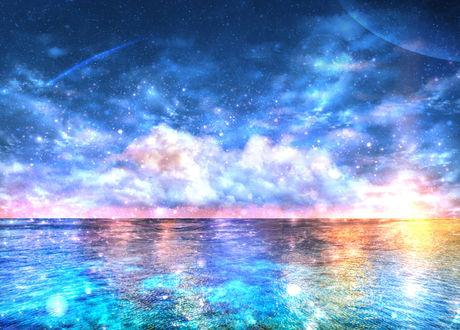 Обои Красивые розово-голубые облака в звездном небе над морем, by CZY