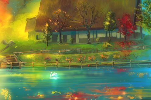 Обои Загородный дом возле пруда с белым лебедем в осеннюю пору, by Uchuubranko