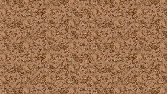 Обои Светло-коричневая текстура с цветами