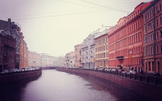Обои Река Мойка между домами, Санкт-Петербург, Россия