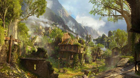 Обои Заброшенный безлюдный и зарастающий лесом город у подножия гор, игра Unchard 4, a thifs end naughty dog