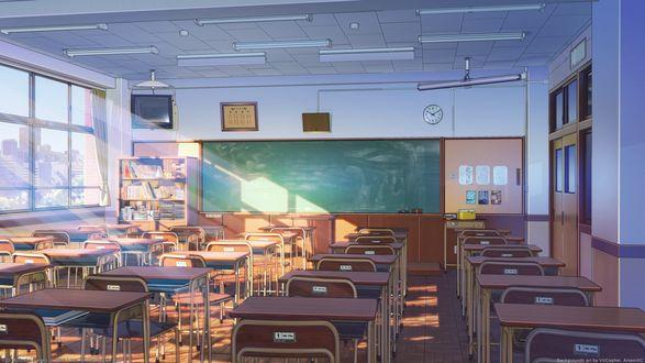 Обои Интерьер класса в обычной японской школе из игры Soviet Games, project Love, Money Rockn Roll, art by VVcephei ArceniXC