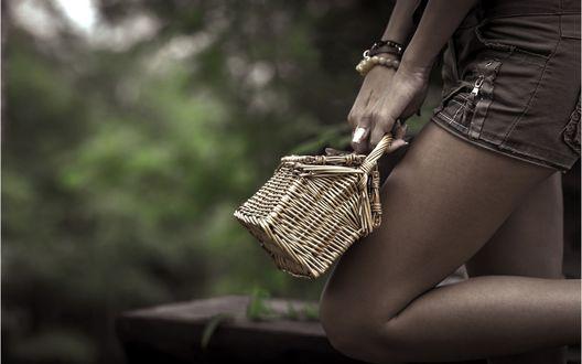 Обои Девушка с корзинкой в руках