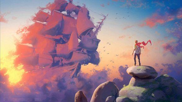Обои Мужчина с красным развевающимся шарфом на шее, стоит на горе и смотрит как навстречу ему по небу плывет облако в виде огромного парусного корабля, by Tohad