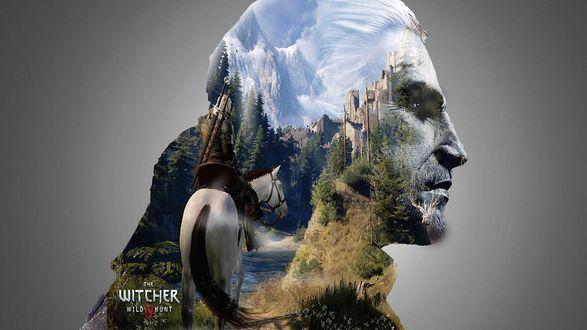 Обои Силуэт головы главного героя Ведьмака, с видом природы и всадника на лошади, мультиплатформенная компьютерная ролевая игра Ведьмак 3: Дикая Охота