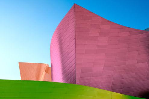 Обои Розовая, оранжевая и зеленая абстракция в виде кирпичей составляют фигуры
