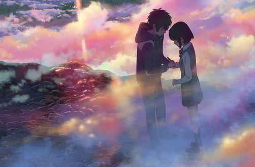 Обои Taki Tachibana и Miyamizu Mitsuha / Миямизу Митсуха из аниме Kimi no Na wa / Твое имя, art by Makoto Shinkai
