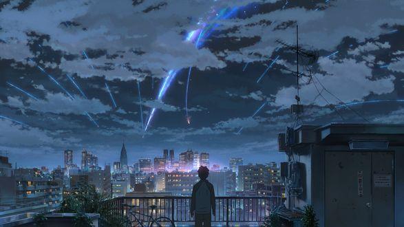 Обои Taki Tachibana наблюдает за падением метеорита с крыши небоскреба из аниме Kimi no Na wa / Твое имя, art by Makoto Shinkai