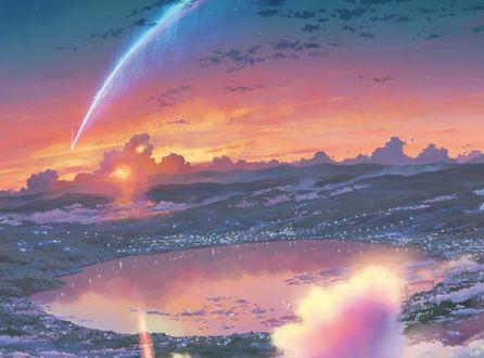 Обои Падающий метеорит в небе над городом из аниме Kimi no Na wa / Твое имя, art by Makoto Shinkai
