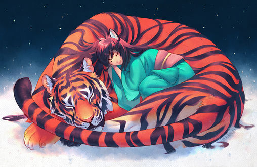 Обои Тигр и спящая с ним девочка с ушками, by nakanoart