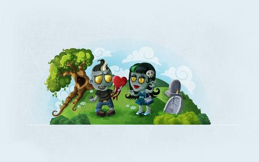 Обои Зомби дарит свое сердце возлюбленной