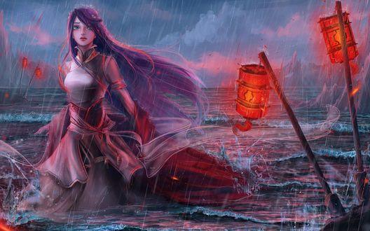 Обои Девушка в длинном платье стоит в воде возле горящих фонарей под дождем