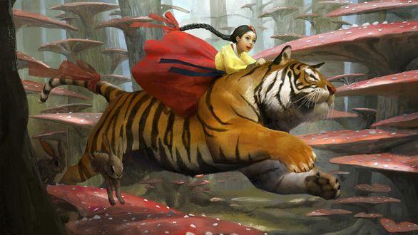 Обои Девочка с длинной косичкой верхом на тигре, рядом бегут зайцы на фоне деревьев, поросшими грибами, by sangsu jeong